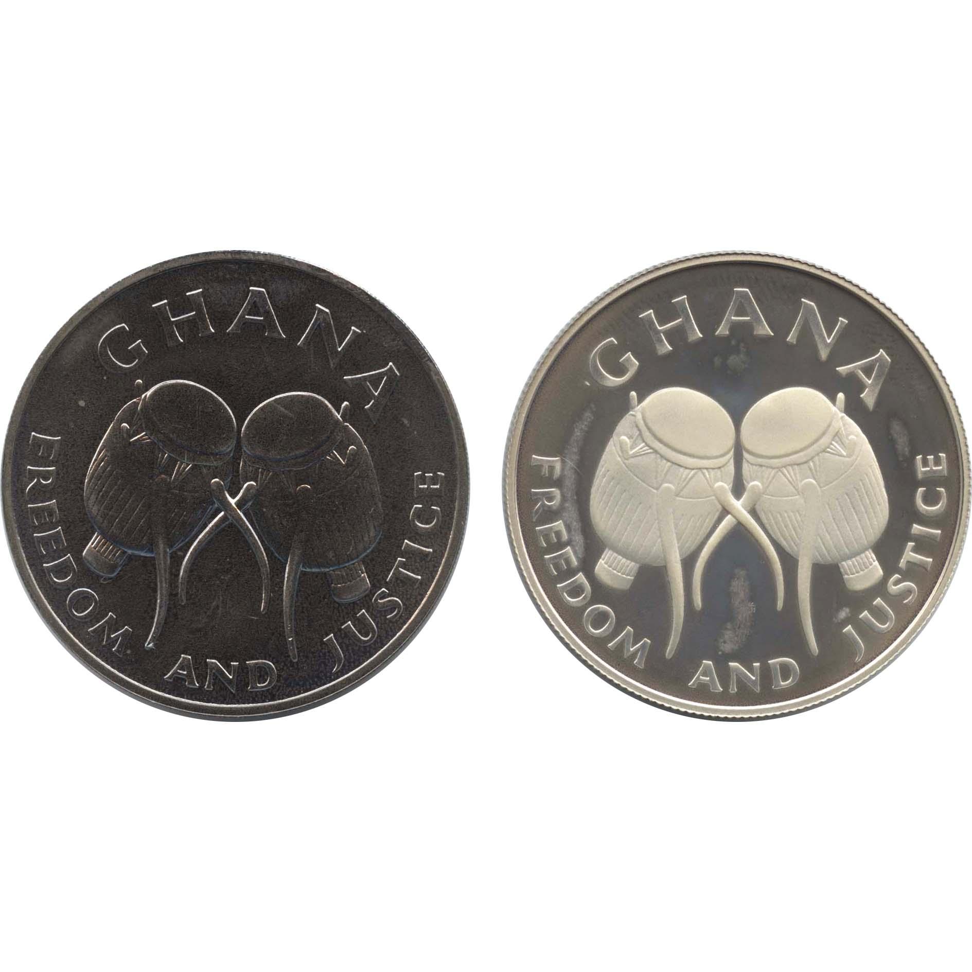 ガーナ 50セディス銀貨,白銅貨 N...