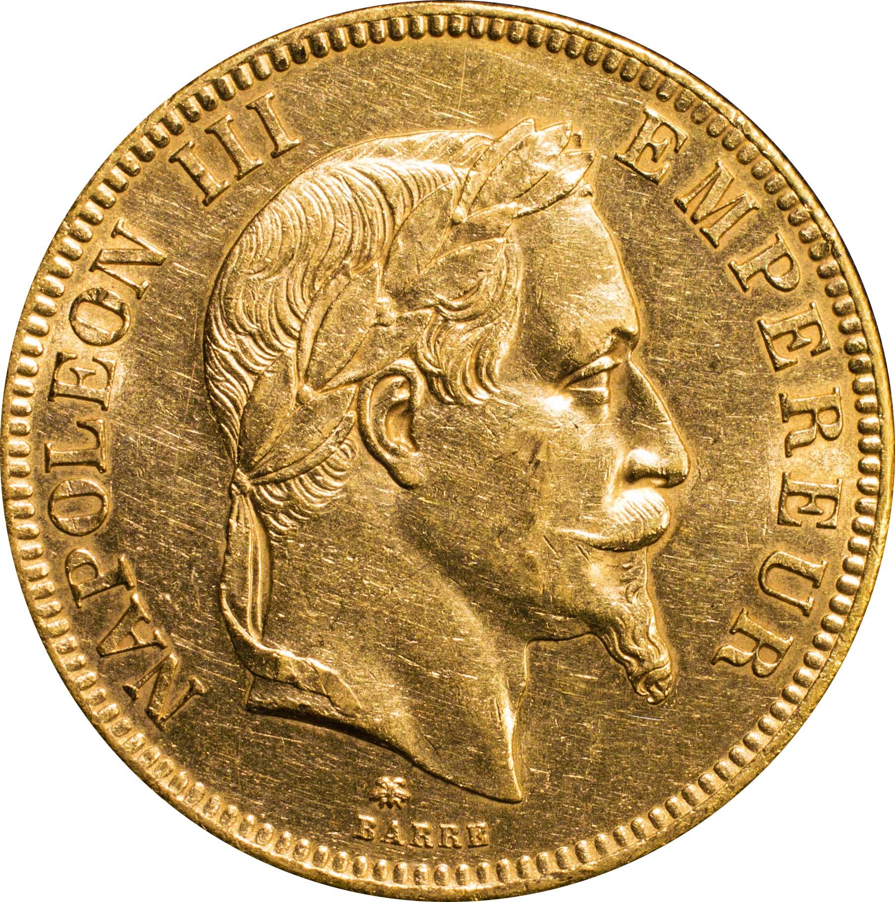 フランス ナポレオン3世 1852 1870 100フラン金貨 1862 a 月桂冠像