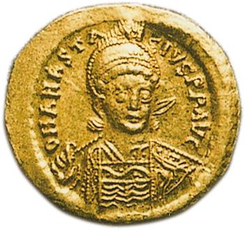 ビザンティン帝国 Byzantine Empire アナスタシウス1世 Anastasius I (491ー518AD) ソリドュス金貨 AV Solidus Officinae:B コンスタンティンノープル鋳 Fr61 Sear5 4.46gm|日本コインオークション